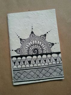 Diy notebook in rice paper. Zentangle flower