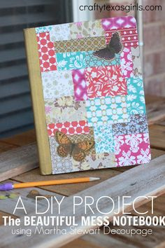 'Make It: The Beautiful Mess Notebook.' (via Crafty Texas Girls) Do It Yourself Crafts, Crafts To Make, Fun Crafts, Crafts For Kids, Paper Crafts, Adult Crafts, Fabric Crafts, Altered Composition Notebooks, Composition Notebook Covers