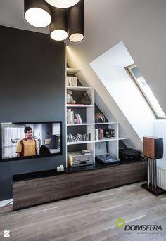 Gruntowny remont mieszkania na poddaszu - Mały salon, styl nowoczesny - zdjęcie…