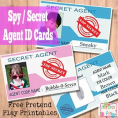 Secret Agent / Spy ID Card for Kids   couldnt get file to open but love the idea !!  Going to make these for my little geoC'ers