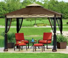 "Create your own ""pampering patio"" with this a 5-piece set from the Sunset Cove Collection. You deserve it! Includes 2 cushioned C-spring chairs with 2 matching ottomans and a glass-top side table. Gazebo sold separately. In-store and online. #shopko"