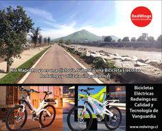 Mira la cliclovía que ofrece el Río Mapocho. Súbete a una #bicicleta #eléctrica #redwings y distruta de un buen paseo