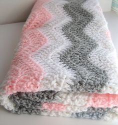 Pink and Gray Chevron Baby Blanket - Crochet Baby Blanket - Chevron Baby Girl Pink Gray Nursery Bedding 30X30 inches
