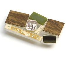 Stephanie Jendis, 'Safari' brooch in root wood, jade, synthetic spinel, agate, ivory, zirconia, silver.