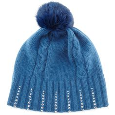 Portolano Winter Hat With Crystals & Fur Pompom (£55) found on Polyvore