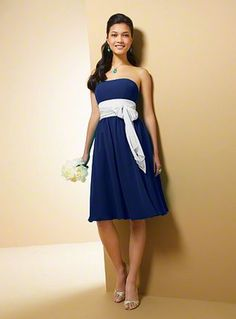 Alfred Angelo Bridesmaid Style 7017S - dress in navy, sash in white