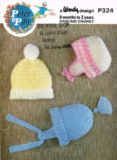 Peter Pan 324 baby hats  vintage knitting pattern by Ellisadine, £1.10