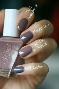 Essie Take Me To Thread gel couture and comps ; 9/9/16