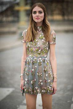 Floral Valentino dress at Paris Fashion Week