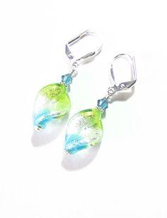 Murano Glass Tricolor Aqua Green Clear Silver Twist by JKCJewels