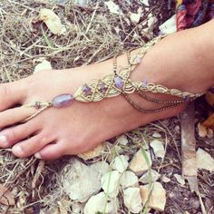 Macrame amethyst beads Single BAREFOOT macrame by ArtOfGoddess, ₪170.00