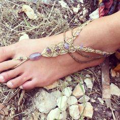 Macrame amethyst beads Single BAREFOOT macrame by ArtOfGoddess, ₪170.00