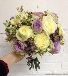 Wedding Flowers Liverpool, Merseyside, Bridal Florist, Booker Flowers and Gifts, Booker Weddings Wax Flowers, Purple Wedding Flowers, Cream Flowers, Wedding Colors, Cream Wedding, Rose Wedding, Bride Bouquets, Bridesmaid Bouquets, Lilac Roses