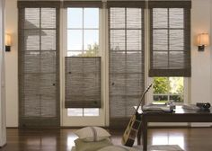 Woven Wood Living Room. These work great on doors, especially with the Top-Down Bottom-Up feature that allows the shade to be lowered from the top.