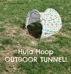Create an outdoor tunnel using hula hoops! Wonderful for a backyard dog agility course Outdoor Dog Toys, Outdoor Games, Outdoor Fun, Agility Training For Dogs, Dog Agility, Training Your Dog, Gross Motor Activities, Kids Learning Activities, Kids Obstacle Course