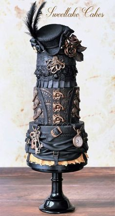 Pirate steampunk cake with tricorn hat by Sweetlake Cakes