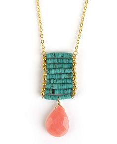 Turquoise Ladder and Stone Drop Pendant Necklace
