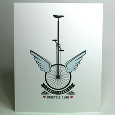 8x10 Lonely Hearts Unicycle Club letterpress print  #poster #print #letterpress