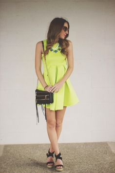 Neon Green Dress with Blue and Gold - Twenties Girl Style