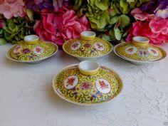 4 Jiangxi Jingdezhen Min Ci Chinese Porcelain Covered Bowls ~ Pot De Creme
