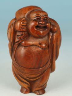 Chinese wood Handmade Carved sport Maitreya Buddha Statue Figure