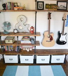 Bedroom storage is the most vital component in a bedroom after the bed. Here're some bedroom storage thoughts including bedroom furniture to put basics and items where they can be effortlessly come to but make best utilization of accessible space. Music Bedroom, Bedroom Decor, Music Inspired Bedroom, Bedroom Ideas, Bedroom Designs, Diy Storage Crate, Storage Shelves, Playroom Shelves, Smart Storage
