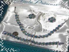 #RHINESTONEJEWELRY #JEWELRYSET #VINTAGE Vintage Lady Princess Imp.Aurora Borealis CRYSTAL NECKLACE Bracelet Earrings Set $79