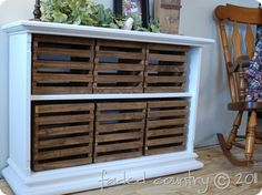 Stained crates in wooden shelves