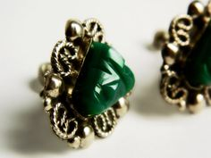 Sterling Silver Green Earrings - Tribal Face / Vintage Mexico