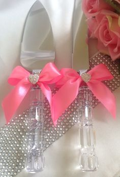 Satin Rhinestone Wedding Cake Serving Set Knife Pink