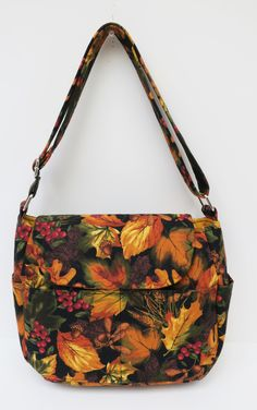 Autumn Fall Holiday Purse, Golden Cross Body Adjustable Strap, Tote Bag, Autumn Leaves Cross Body Bag, Travel Purse, Sling Bag, Handmade Bag by JustBeautiful161 on Etsy