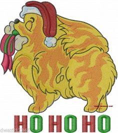 CHRISTMAS HO HO HO POMERANIAN DOG - 2 EMBROIDERED HAND TOWELS by Susan