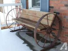 Wrought Iron Patio Benches Wagon Wheel Benches On Sale Wagon Wheel Bench, Wagon Wheel Decor, Wagon Wheels, Industrial Furniture, Rustic Furniture, Diy Furniture, Vintage Industrial, Barn Wood Projects, Home Projects