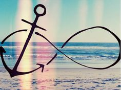 "Anchor Infinity sign. This is my first tattoo along with the words ""I refuse to sink""."