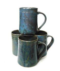 In SLATE please! Set of 4- 16 oz Handmade Ceramic Mug -- Hand crafted pottery-- Large hand thrown coffee, cocoa mug.. $60.00, via Etsy.