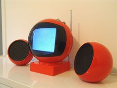 70's Orange JVC Nivico Ball TV Videosphere 3240 with a pair of Orange SBR (Belgium) 70's Ball speaker
