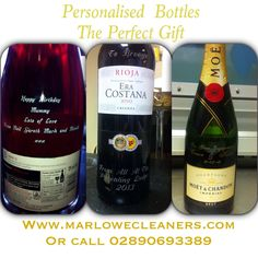 Champagne and wine bottle engraving