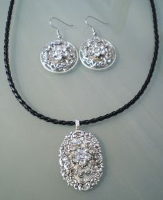 MAY FLOWERS  Silver Rhinestone Assemblage Pendant & matching Earrings by NatureAngels, $32.00