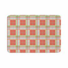 """afe images """"Summer Plaid Pattern"""" Coral Pattern Memory Foam Bath Mat from KESS InHouse"""