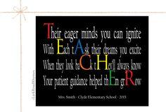 Teacher Gift 8x10 Paper Print Teacher Decor by LarkRoadRhymes