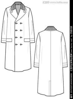 轻便大衣 Flat Drawings, Flat Sketches, Chesterfield Coat, Clothing Sketches, Fashion Figures, Fashion Design Sketches, Drawing Clothes, Technical Drawing, Sacks