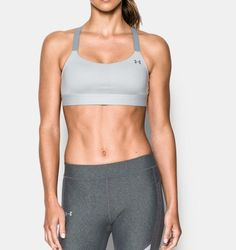 Women's Armour® Eclipse Heather Mid Impact Sports Bra, AIR FORCE GRAY HEATHER