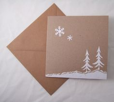 Christmas Cards 'Snow Trees' 5pk,Handmade Xmas Cards with Envelopes £4.00