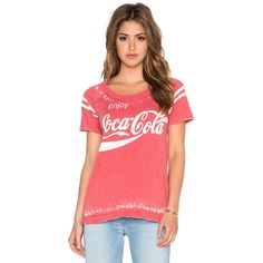 Chaser Enjoy Coca Cola Tee Tops ($61) ❤ liked on Polyvore featuring tops, t-shirts, graphic tees, graphic design t shirts, red tee, cutout top, chaser tops and graphic design tees