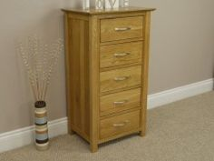 Milan Solid Oak 5 Drawer Tall Chest Of Drawers #chestofdrawers