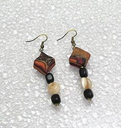 Fimo-Polymer-Clay-Dangle-Earrings-UNIQUE-OOAK-Handcrafted-Artisan-Jewelry