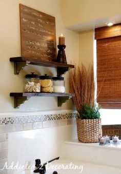 Another shelving option, if floating shelves are too much work John & Alice's Master Bathroom:: The Reveal! - Addicted 2 Decorating®