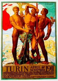 """Archival Canvas  Gallery Wrapped on a 1.5"""" Stretcher Bar  Includes Hanging Wire or Hanging Hooks  Description  1911 - DE KARLOLIS, ADOLFO - This Italian poster was originally designed for the 1911, """"Exposition National des Industries"""" in Italy ."""
