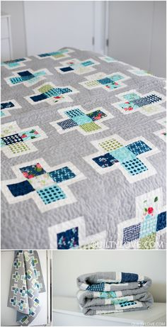 Plus Squared Quilt pattern by Emily of Quiltylove.com. This modern plus quilt pattern mixes up your favorite fat quarter bundle and shows them off. A simple block quilt that can be tackled by the beginner quilter.