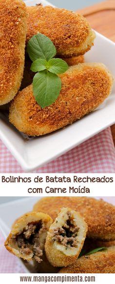 Bolinhos de Batata Recheados com Carne Moída – Comida de Boteco. #receita #comida #comidadeboteco #boteco #bolinho #carne #batata